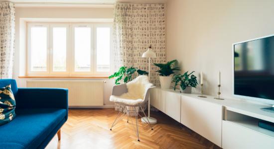 Salon style moderne avec canapé bleu